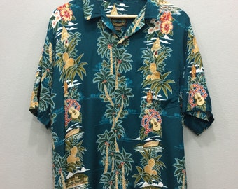 Hawaii Shirt Button Down Hawaiian Reserve Collection Medium Size