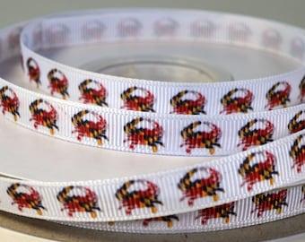 """3/8"""" Nautical Crab Print Grosgrain Ribbon"""