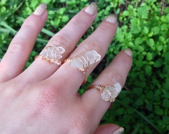 Quartz copper wire wrapped ring