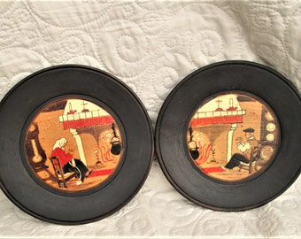 Vintage French Plates, wood plates, handpainted wood, vintage french village life, country living, hanging plates