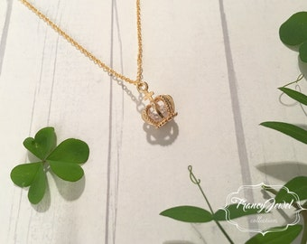 Crown jewelry, gold necklace, cubic zirconia charm, handmade jewelry, made in Italy, gift for her, 24k gold plated, unique jewelry, birthday