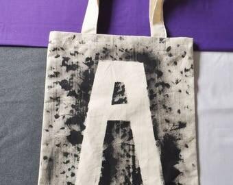 Handmade Initial Canvas Tote Bag