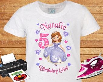 Sofia the First, Any Name, Any Age for Birthday Girl, Family Birthday Shirts, Princess Disney, Iron on Transfer, Printable. 2.