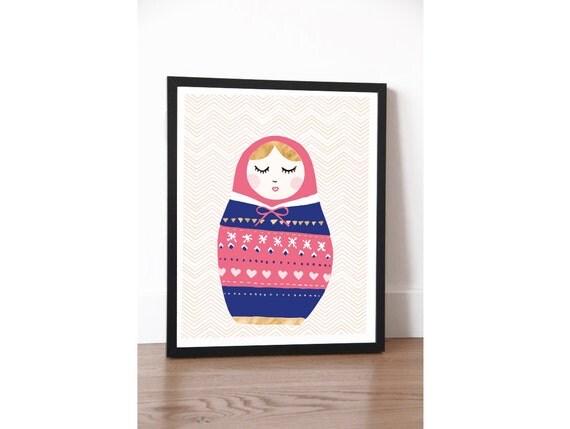 Fashionable Matroschka, Illustration, Poster, Print, Printable, Handmade,Lifestyle, Fashion, Graphic, Decoration, Drawing