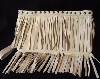 Attractive cream leather fringe clutch, genuine leather fringe handbag, fringe wrist-let, hobo fringe bag