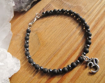 Hematite and Blackstone Ohm Charm Bracelet Men's, Women's