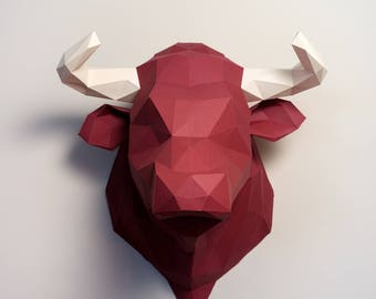Pre-cut and Pre-scored Bull Kit - Low Poly Animal