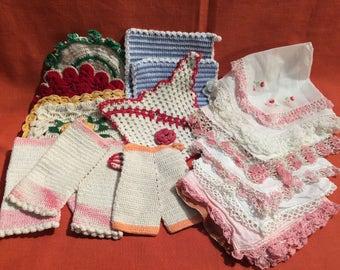 9 Vintage Crocheted Pot Holders and 7 1950's Hankies