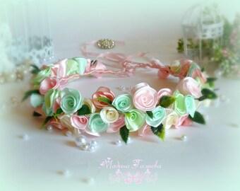Gentle pink wreath on your head