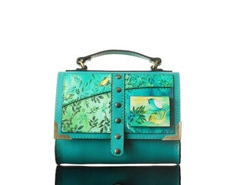 Wings - Turquoise| Handmade, Crossbody Bag, Genuine Leather Bag, Eco Leather, Quote, Print