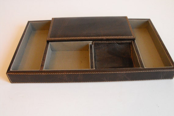 Faux leather desk drawer organizer fossil valet 657 - Faux leather desk organizer ...