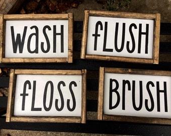 Wash, Brush, Flush, Floss framed bathroom wood signs