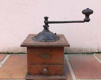 VINTAGE FRENCH PEUGEOT freres coffee grinder rare metal /wood old