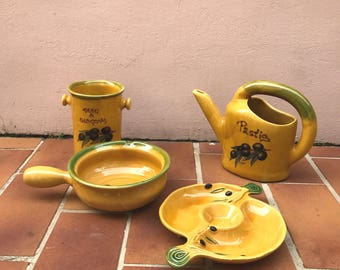 Provencal apperitif set Olive yellow cicada pastis water pitcher signed 0405175