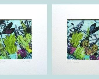 Wishing Pond Set of 2 Silk Art Prints