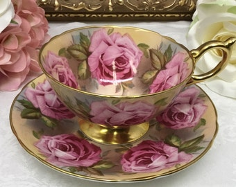 Aynsley teacup and saucer. Cabbage Roses.
