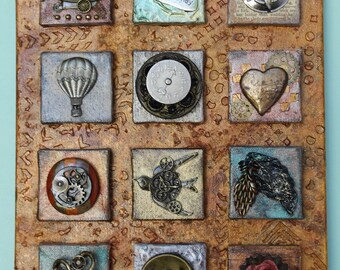 Found Object Collage - Steampunk Assemblage Canvas Art - 12 Canvases in One - Original 3D Collage - 3D Steampunk Art - Vintage Mixed Media