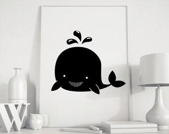 Whale kids art, whale poster, whale print, whale kids print, Animals Nursery, gender neutral, kids room, kids room decor,  nursery decor