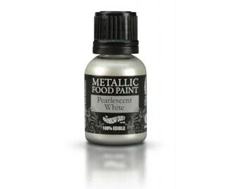 "Edible metallic paint 25ml ""Pearly white"" - Rainbow Dust"