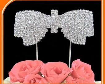Knot rhinestone Crystal on Double peak silver Decoration Design Wedding Cake