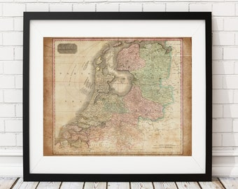 Holland Map Print, Vintage Map Art, Antique Map, Wall Art, Old Maps, Map of Holland, Netherlands Map, Dutch, Amsterdam, Map Poster, Map Art