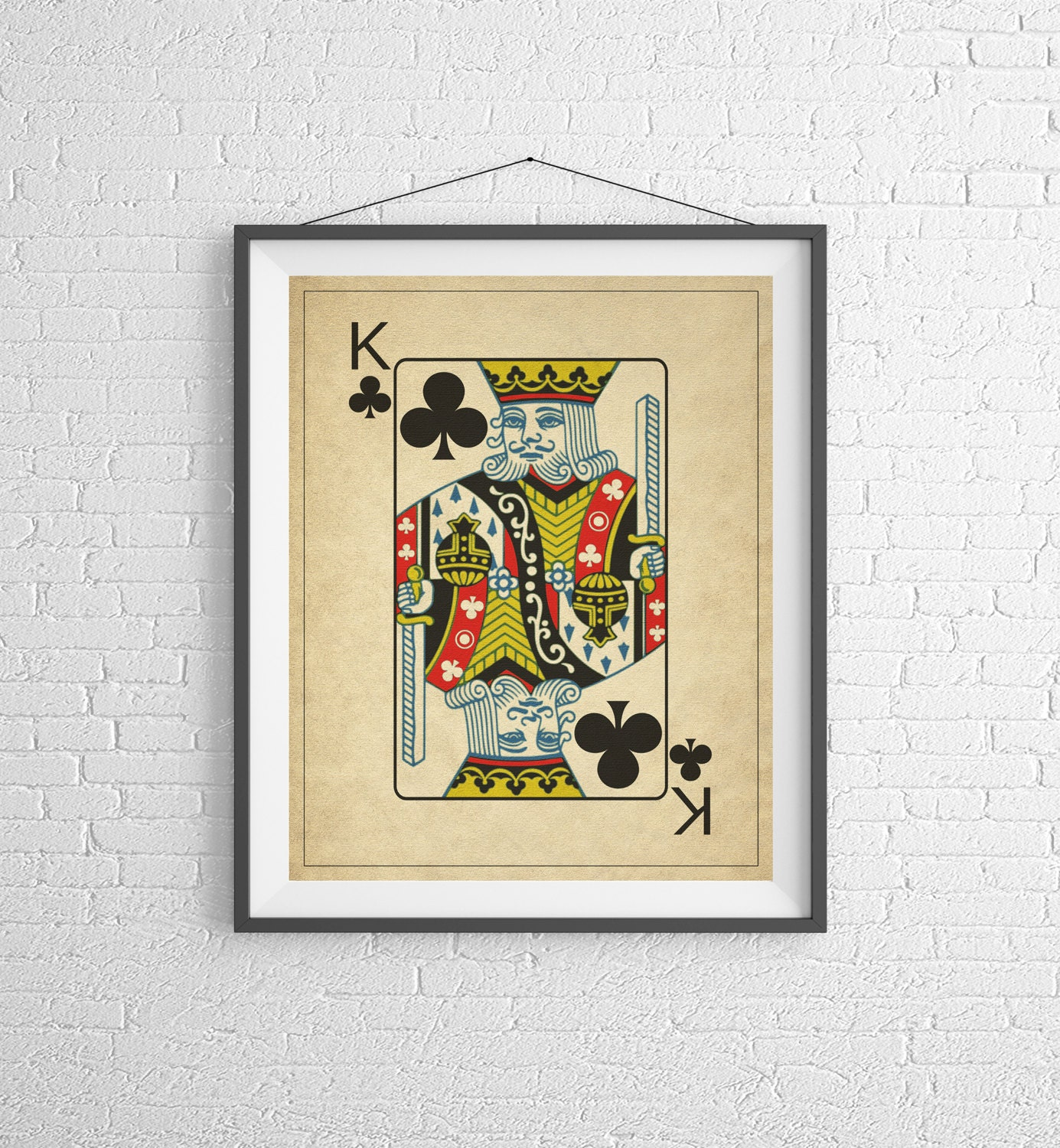 King of Clubs, Playing Card Art, Game Room Decor, Game Room Art ...