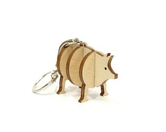 Wooden Piggy Keychain, 3d Piggy Wooden Keychain, Animal Keychain
