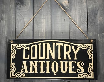 Black Whimsical Country Antiques Wood Sign - Antique Wall Hanging - Country Sign