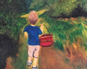 Boy in Apply Orchard Fine Art Print