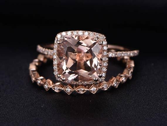 3ct cushion cut morganite engagement ring set2pcs bridal