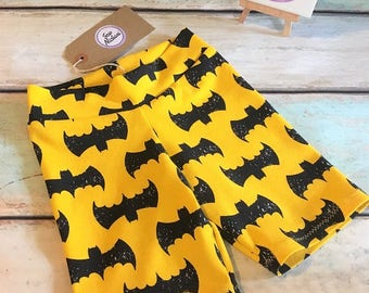 NEW Handmade Kids Shorts - Yellow & Black Bat Design Stretch Jersey - Age 4 Years