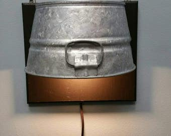 Custom Galvanized Bucket / Tub as Sconce, night light, reading light
