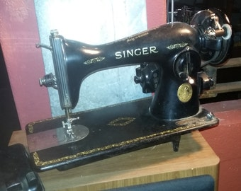 Antique Singer Sewing Machine with 120v Electric Motor and Foot Pedal 1920-1930
