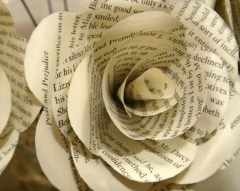Pride and Prejudice Book Page Flowers, Individual White Book Page Roses, Literary Flowers, Pride and Prejudice Gifts