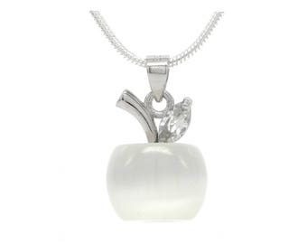 White apple moonstone necklace, real silver hallmarked necklace, clear marquise gem, apple necklace, moonstone white pendant, black gift box