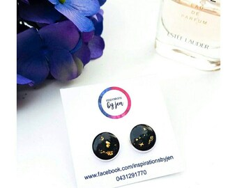Black and gold leaf earrings