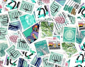 40 Cyan Vintage Postage Stamps