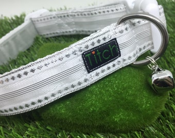 Snow White collar (handmade adjustable white and silver dog collar pet winter white dog collar)