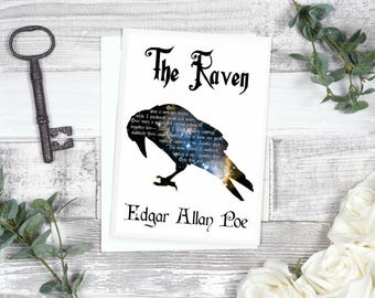Edgar Allan Poe Card The Raven, Gothic Gift, Bird Poem, Classic Literature, Literary Card