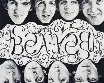 Drawing Print - The Beatles - Mirror Poster