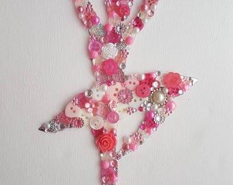 Handmade Button Bling Ballerina Picture Art