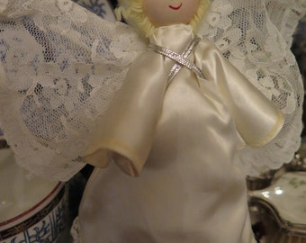 Angel White Lace Vintage Ornament Satin Painted Face Wood Head Legs Arms SALE