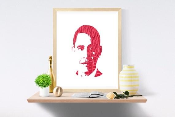Obama, Barack Obama, President, Michelle Obama, Election, Snake Skin, Pink Print, Pink Prints, White Print, White Prints, Wall Art,Art Print