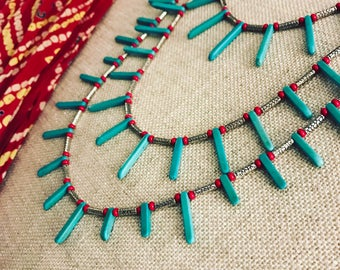 Handmade 3 Layered Turquoise Statement Necklace