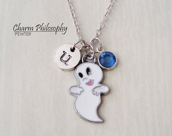 Casper the Friendly Ghost Necklace - Ghost Jewelry - Kids Jewelry - Monogram Personalized Initial and Birthstone