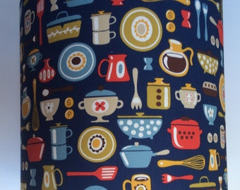 Retro Kitchen lampshade, utensils, kitchen, utility room. Great housewarming gift, bright and bold fabric.