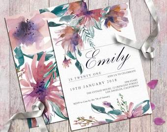 Good Digital Birthday Invitation For Women And Girls Party Printable Invitation  Card Pastel Cream Floral Elegant Customized