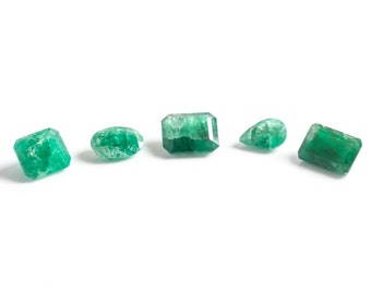 1940s Assorted Loose Emeralds, Lot of Five, South American Origin, VJ #581