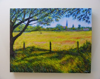Original painting: Field by the church.