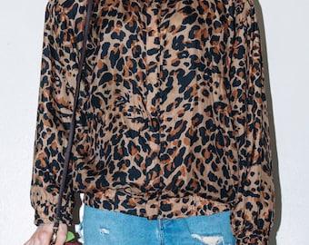 90's leopard print silk light jacket.